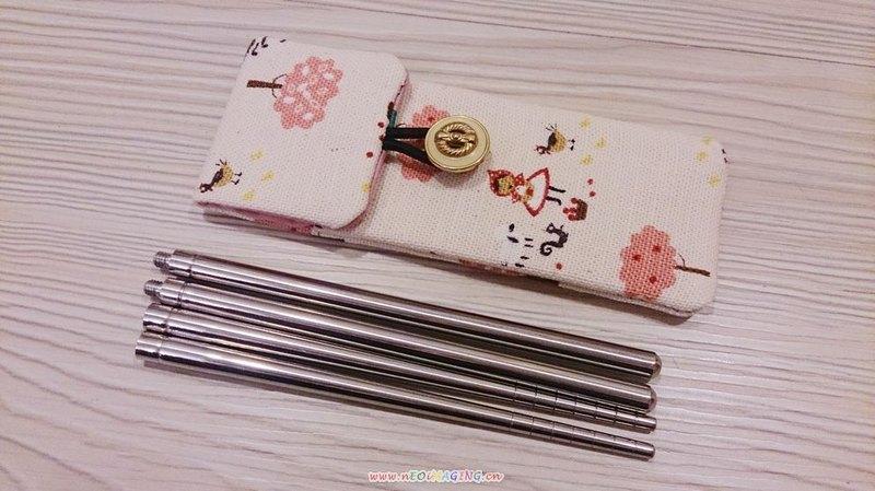 棉麻布 小红帽 可爱风 环保折筷子组 筷子套 筷子袋