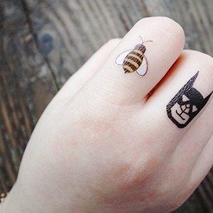 创意纹身贴纸 bee小蜜蜂 想去精选;; 嗡嗡小蜜蜂 刺青贴纸组; 070tatt
