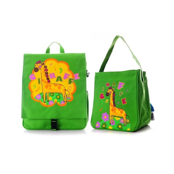 zoo系列儿童帆布书包午餐袋组合-绿长颈鹿
