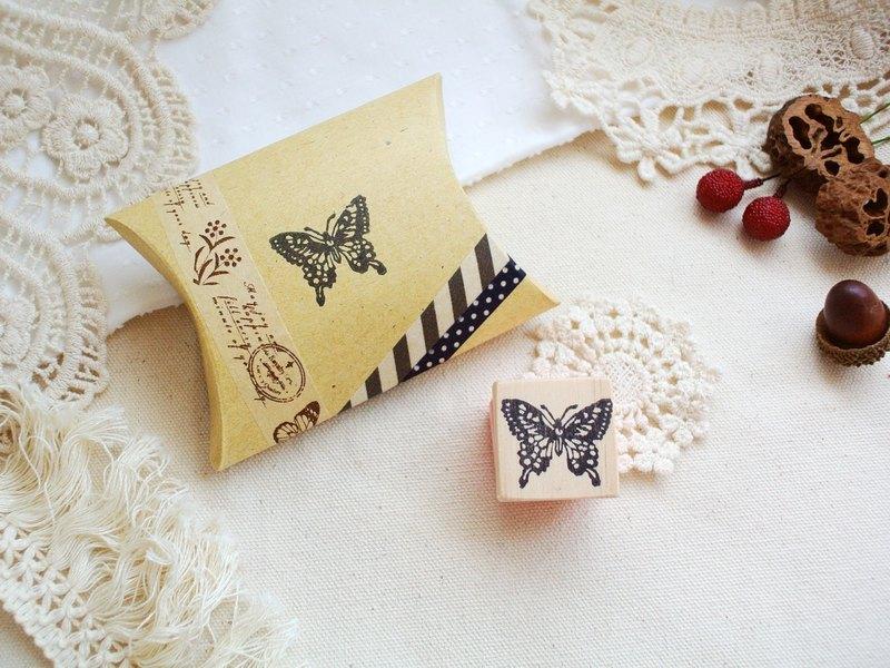 蝴蝶标本 木头底座手工印章