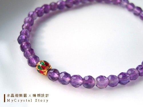 天然紫水晶手鍊64搭配景泰蓝珠