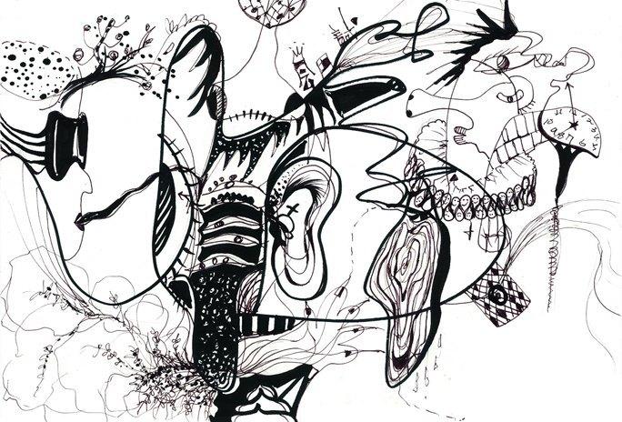 】.脑灌溉 (黑白线画)