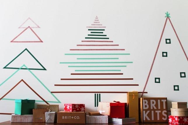 不占空间的纸胶带圣诞树 diy!