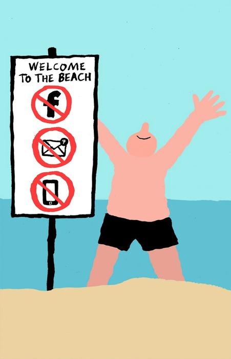 到海边玩禁止拿手机,看 facebook 喔!