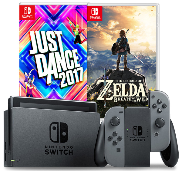 Nintendo Switch Console System Bundle (Just Dance 2017 + The Legend of Zelda: BoTW)