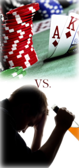 A picture showing gambling compared with substance abuse