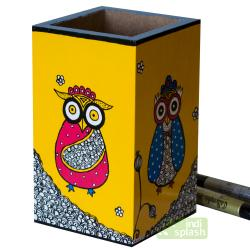 Multicolor Owl  Pen Holder (MDF)