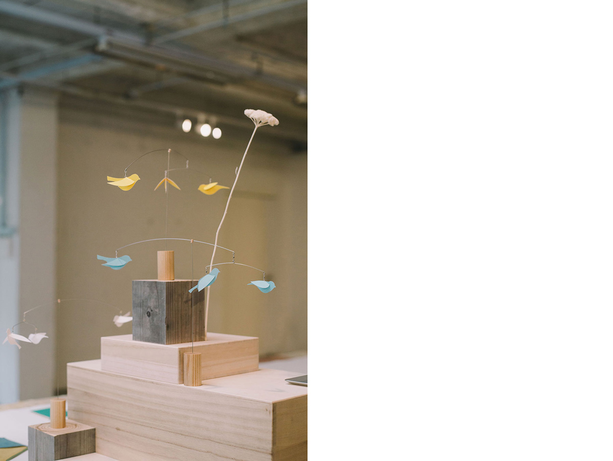 For Supermama's KOBO collection, Clara and Japanese brand Mother Tool designed a Sparrow Desk Mobile, which pays homage to the small birds that take refuge in her balcony during the monsoon rains.