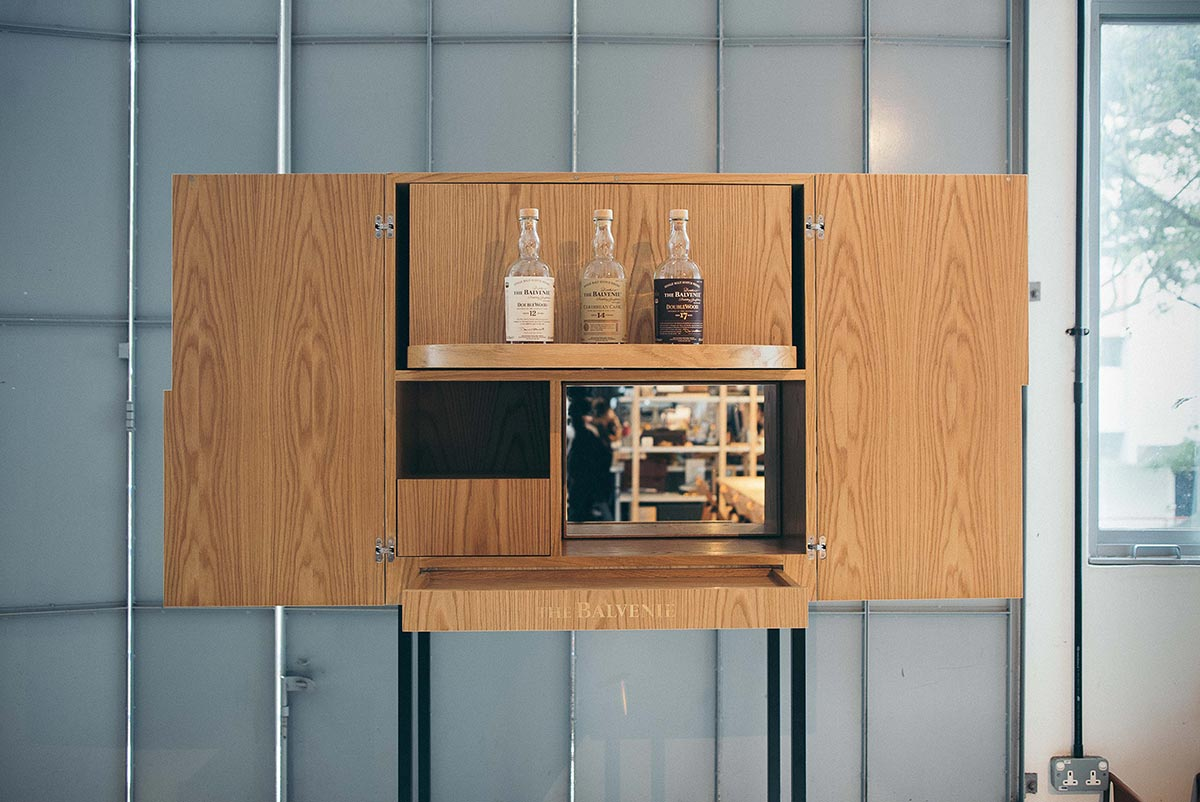 A bespoke liquor cabinet with the additional function of a serving station created for The Belvenie Connoisseurs of Craft