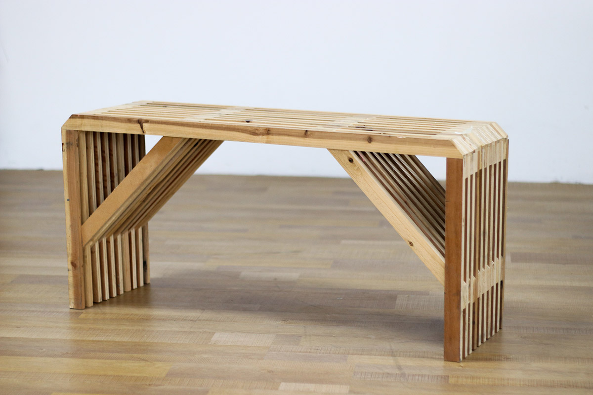 Learn to make this lattice bench at one of Triple Eyelid Studio's workshops
