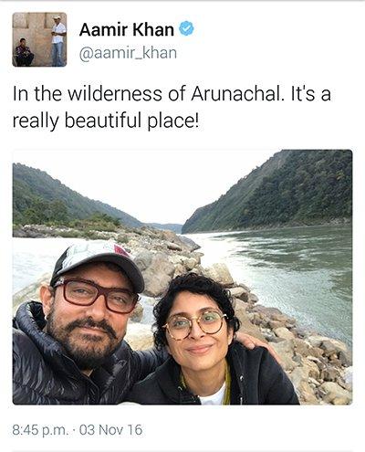 Aamir Khan and Kiran Rao in the wilderness of Arunanchal Pradesh.jpg