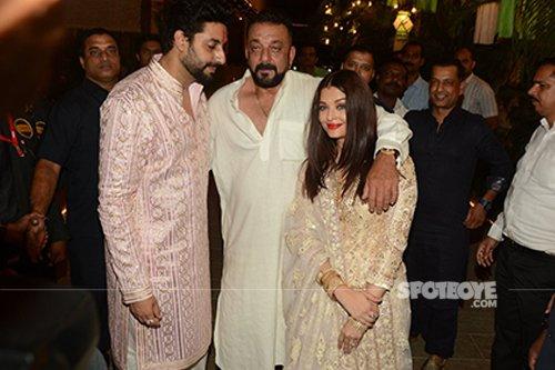 Abhishekh Bachchan, Aishwarya Rai and Sanjay Dutt at Bachchan Diwali Bash 2016.jpg
