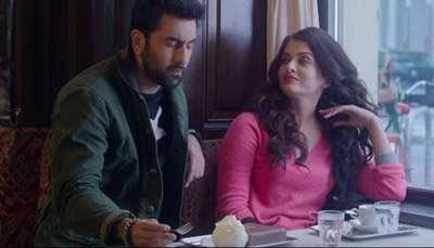 Aishwarya Rai Bachchan in a pink sweater and Ranbir Kapoor in a Still from Ae Dil Hai Mushkil.jpg