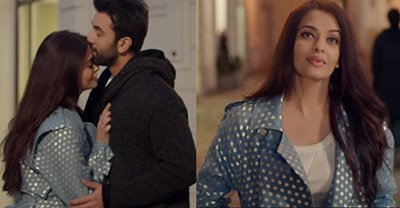 Aishwarya Rai Bachchan in a teal blue overcoat with Ranbir Kapoor in Ae Dil Hai Mushkil.jpg