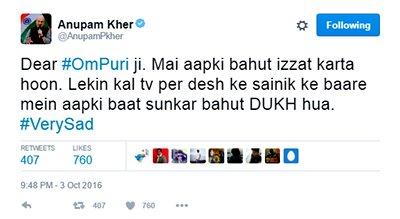 Anupam Kher tweets on Om Puri's bytes.PNG