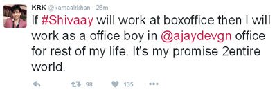 Kamal R Khan tweets he will work  fro Ajay Devgn if Shivaay succeeds at the Box Office.jpg