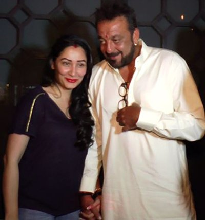 Maanayata Dutt and Sanjay Dutt at Karwa Chauth party.jpg