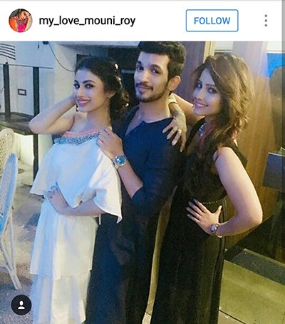 Mouni Roy with Arjun Bijlani and Adaa Khan.png