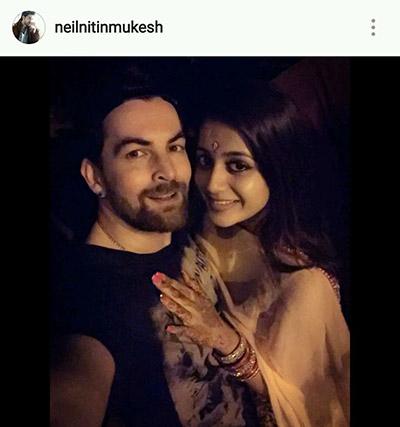 Neil Nitin Mukesh and fiancée Rukmini Sahay celebrate Karva Chauth 2016.jpg