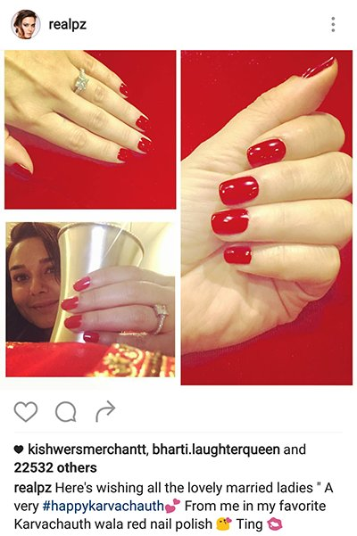 Preity Zinta shows off her nail polish during Karva Chauth 2016.png