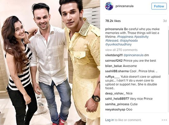 Prince Narula and Yuvika Chaudhary with a friend.jpg