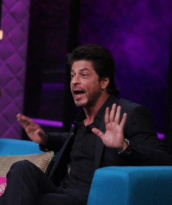 SRK does a weird pose on Koffee with Karan.jpg
