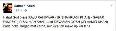 Salman Khan's post on the movie starring Salman,SRK and Aamir.jpg
