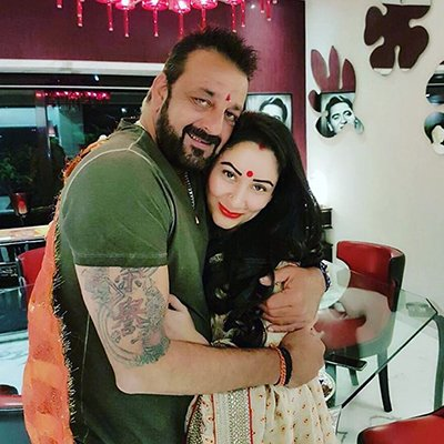 Sanjay Dutt with wife Maanayata Dutt at Karwa Chauth party.jpg