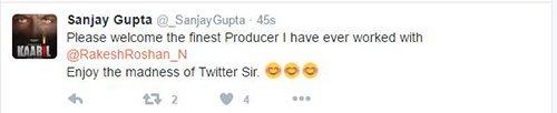 Sanjay Gupta Tweets about Rakesh Roshan joining twitter.jpg