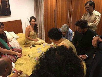 Shah Rukh Khan, Gauri Khan and Kiran Rao at Aamir Khans Diwali Bash.jpg
