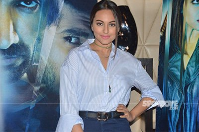 Sonakshi Sinha in a blue strip shirt and skirt- Force 2 Promotions.jpg