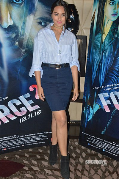 Sonakshi Sinha in a blue striped shirt and skirt with boots - Force 2 Promotions.jpg