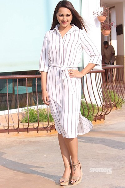 Sonakshi Sinha in a white striped dress - Force 2 promotions.jpg