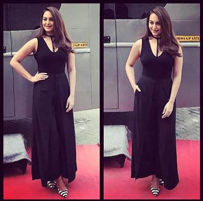 Sonakshi Sinha in stylish black pants and classic V-neck top for Force 2 Promotions.JPG