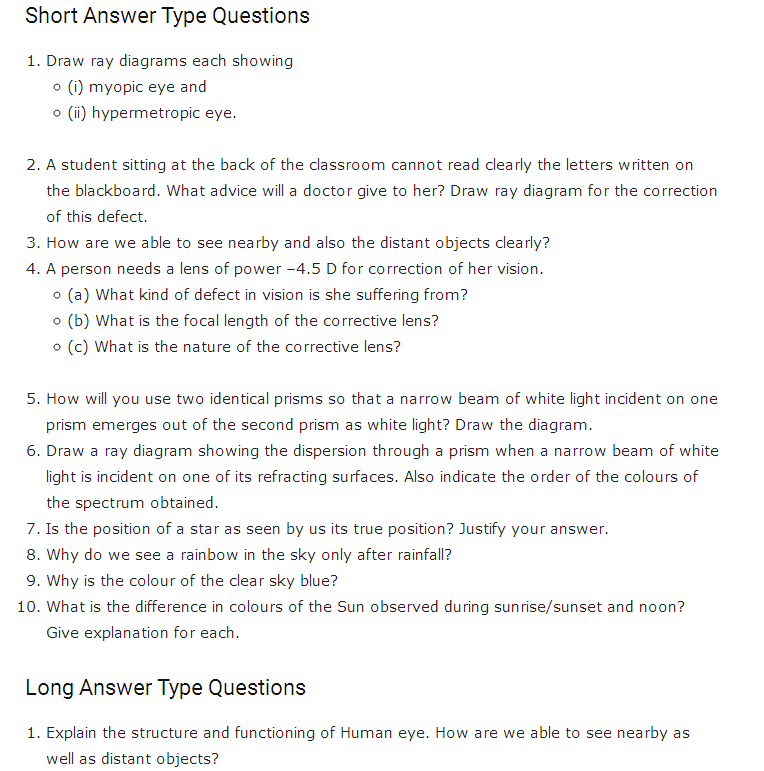 Important questions for class 10 science chapter 11 human eye and important questions for class 10 science chapter 11 human eye and colourful world ccuart Choice Image