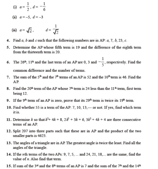 Important questions for class 10 maths Chapter 5 Arithmetic Progressions
