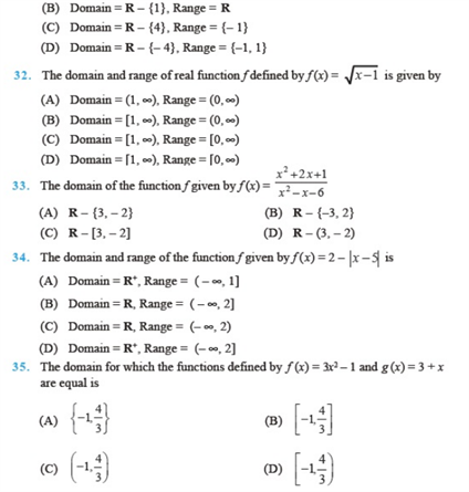 Chapter 2 – Relations and Functions