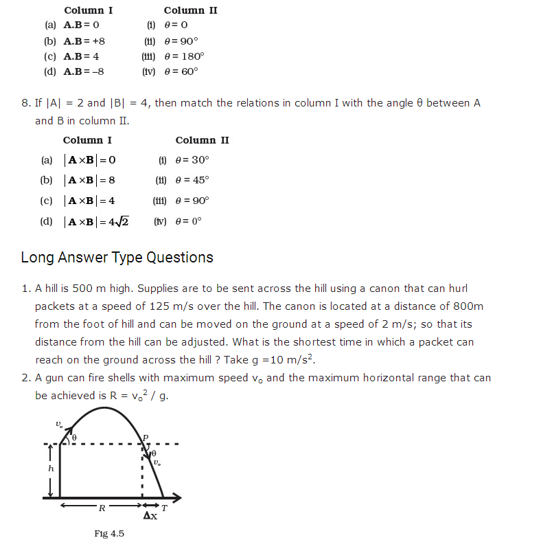 Important Questions for Class 11 Physics Chapter 3 Motion in a Plane