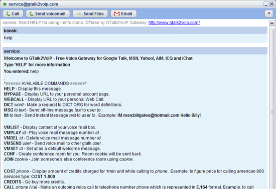 HELP command in Gtalk2voip bot