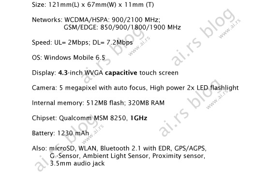 HTC LEO leaked specification