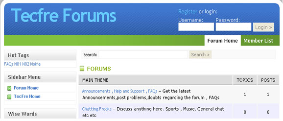 forum front page look