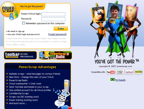 powerscrap to unblock orkut scrapping