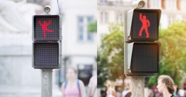 【新穎概念】由真人控制的紅燈小人盡情熱舞,減低行人胡亂過馬路機會
