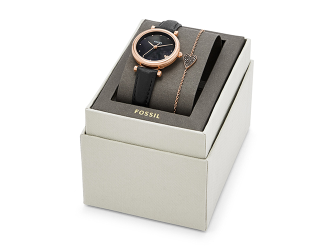 Fossil Carlie Mini Three-Hand Black Leather Watch and Bracelet Box Set