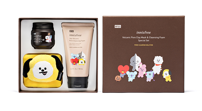 innisfree BT21 Volcanic Pore Clay Mask & Cleansing Foam Special Set
