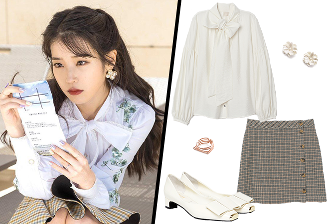 Hotel-Del-Luna-IU-Outfit-01-White-Blouse-Checkered-Skirt