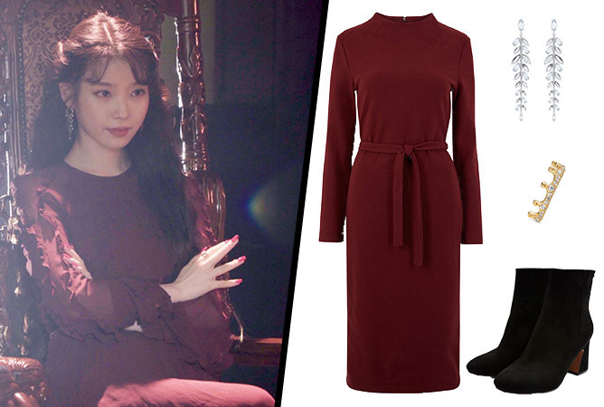 Hotel-Del-Luna-IU-Outfit-02-Burgundy-Dress