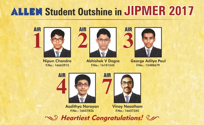 JIPMER 2017 Result by ALLEN