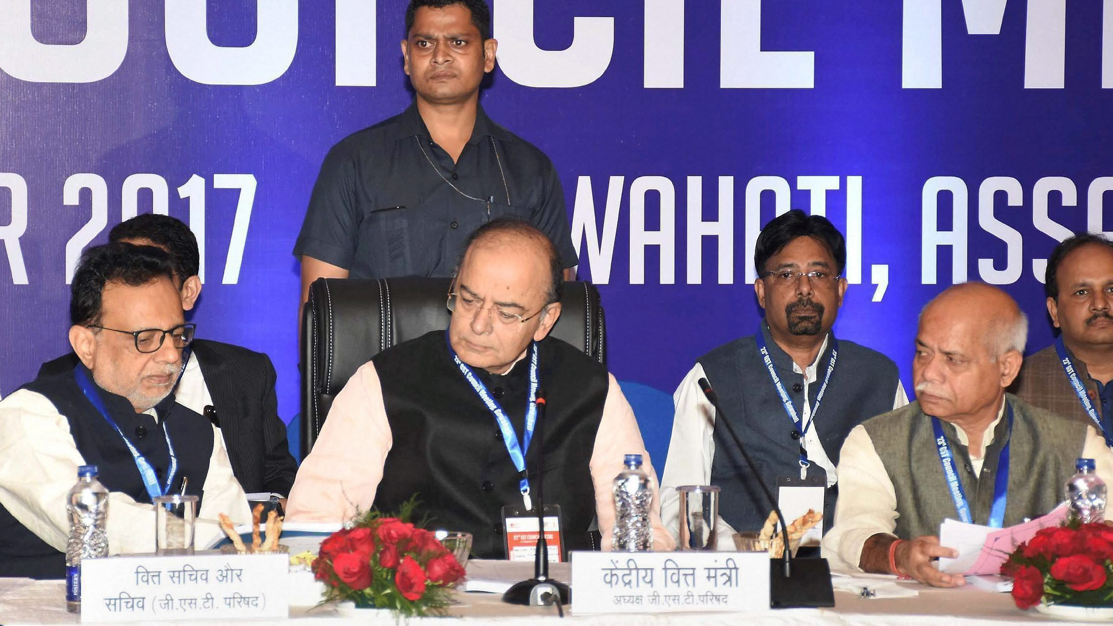 Guwahati: Union Finance Minister Arun Jaitley along with MoS for Finance Shiv Pratap Shukla and Finance Secretary Hasmukh Adhia (L) at the 23rd GST Council Meting, in Guwahati on Friday. PTI Photo(PTI11_10_2017_000047B)