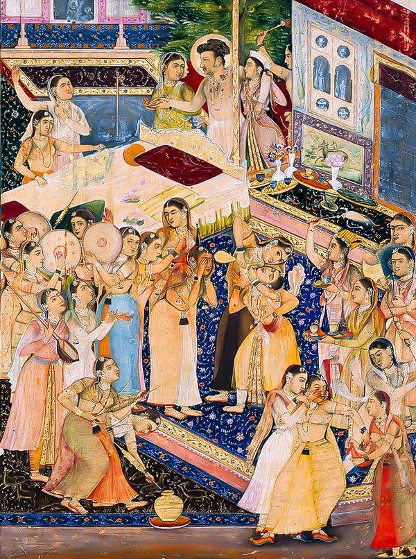 jahangir-celebrating-holi-painting-by-govardhan